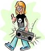 Long Haired Rocker Carrying a Boombox clipart