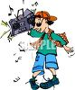 Hip Hop Kid With a Boombox on His Shoulder clipart