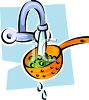 Washing Vegetables in a Colander clipart