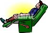 Man Napping in His Recliner clipart
