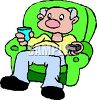 Man Watching Television in His Easy Chair clipart