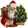 Victorian Santa With Toys and a Small Christmas Tree clipart