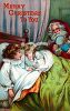 Victorian Christmas Card of Santa Watching Over Children Sleeping clipart