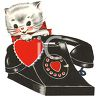 Vintage Valentine-Kitten by a Phone clipart