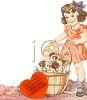 Vintage Valentine-Girl With Puppies clipart