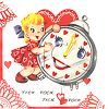 Vintage Valentine-Girl with a Clock  clipart