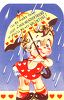 Vintage Valentine-Kewpie Girl with an Umbrella in the Rain clipart