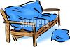 Wooden Futon with Mattress clipart