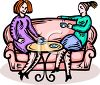 Two Women Chatting Over Coffee clipart