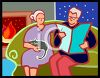 Elderly Couple Relaxing in the Evening clipart