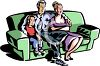 Family Watching Television Together clipart