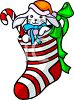 Striped Christmas Stocking clipart