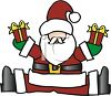 Cartoon of Santa Claus with Gifts Clipart clipart