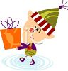 Christmas Elf Holding a Present clipart