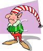 Elf Wearing a Pointed, Striped Hat clipart