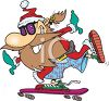 Santa Claus on a Skateboard clipart