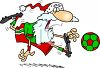 Santa Kicking a Soccer Ball clipart