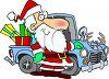 Santa Delivering Presents in a Truck clipart