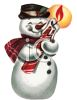 Old Fashioned Snowman Holding a Candle clipart