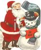 Vintage Snowman and Santa Claus clipart