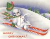 Vintage Snowman on Skiis clipart