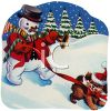 Vintage Snowman Walking His Dog clipart