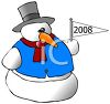 Sports Fan Snowman Holding a Pennant clipart