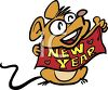 Mouse Holding a New Year Sign clipart