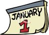 Date-January 1 Calendar Page clipart