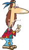 Dirty, Stinky Hippy Flashing the Peace Sign clipart