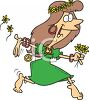 Flower Child Hippy Chick Dancing Barefoot clipart