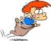 Boy Competing in a Sack Race clipart
