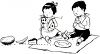 Black and White Clip Art of Two Children Watching Ants Steal Their Picnic Food clipart