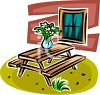 Picnic Table in a Back Yard clipart