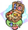 Picnic Basket Full of Food clipart
