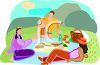 Friends Having a Picnic in the Park clipart
