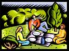 Family Having a Picnic in the Park clipart