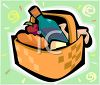Picnic Hamper with a Bottle of Wine clipart