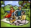 Friends on a Picnic by a Pond clipart
