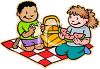 Children Eating a Picnic clipart