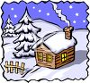 Snow Covered Cabin In the Woods at Night clipart