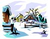 Sun Shining on a Snow Covered Farm clipart