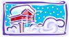 Bird House Covered with Snow clipart