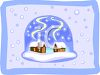 Two Little Cabins in a Snowglobe  clipart