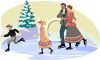 Old Fashioned Family Ice Skating clipart