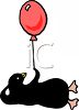 Penguin Holding a Red Balloon clipart