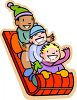 Children Riding on a Sled clipart
