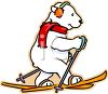 Polar Bear on Skis clipart