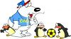 Polar Bear Coaching Young Penguin Soccer Players clipart