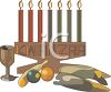 Kwanzaa Candles and Food clipart